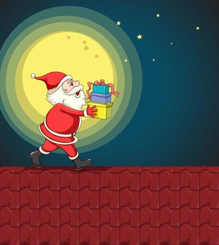santa claus y regalos vector