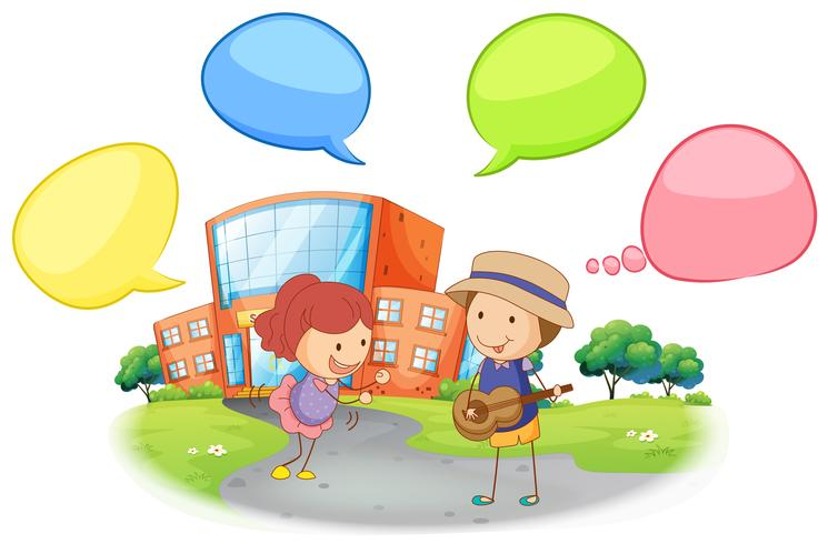 Student infront of school with speech balloon