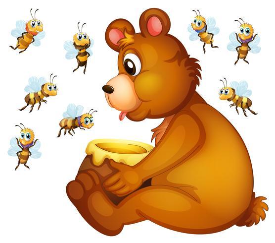 Bär und Bienen vektor