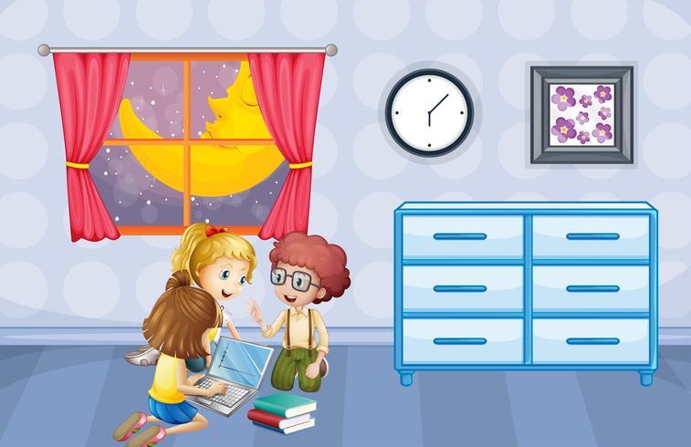 Kinderen die op computer thuis werken vector