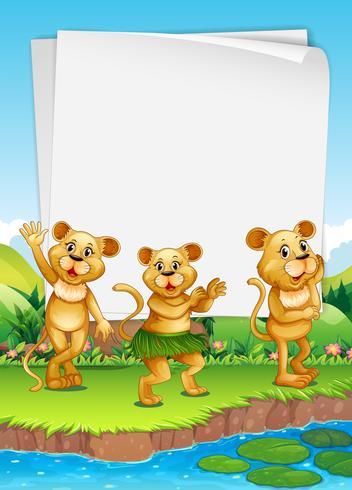 Border design with three lions