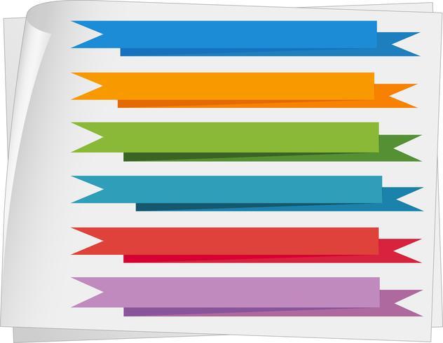 Label sjablonen met kleurrijke linten vector