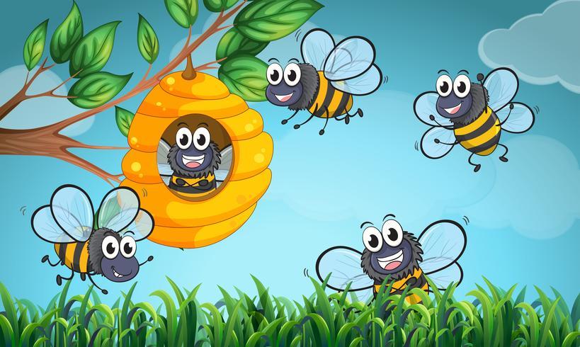 Scène met bijen en bijenkorf