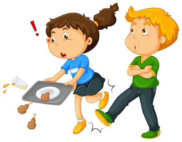 Boy kicking girl's leg