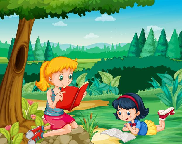 Två tjejer läser böcker i parken