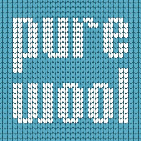 Testo a maglia. Pura lana. Nei colori blu e bianco. Illustrazione vettoriale