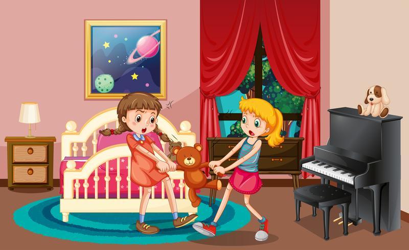 Twee meisjes vechten in de slaapkamer vector