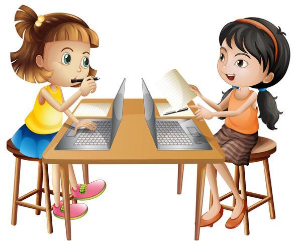 Twee meisjes die aan computer werken vector