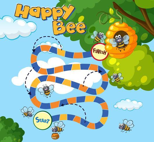 Modelo de jogo de tabuleiro com abelhas voando