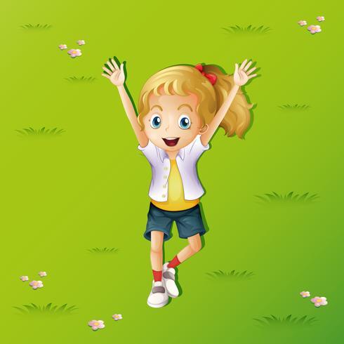 Meisje die op gras met twee omhoog handen liggen vector