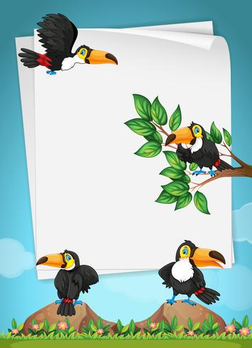 Paper design with toucans flying