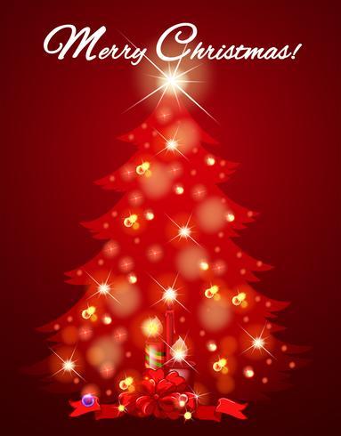 Cartão de Natal com árvore cheia de luz