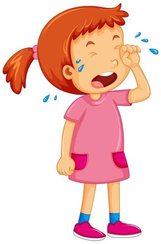 Ragazza in abito rosa piangere