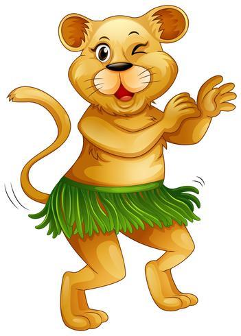 Glücklicher Löwe, der alleine tanzt vektor