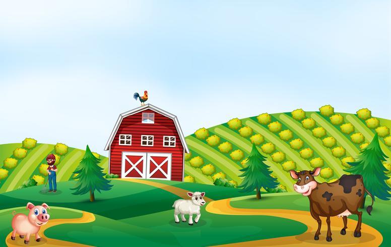 A nature farmland landscape vector