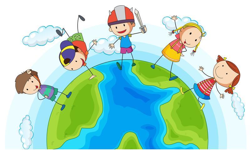 Veel kinderen spelen rond de aarde
