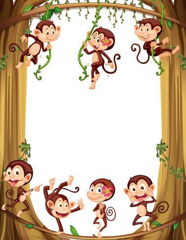Diseño de frontera con monos trepando al árbol.