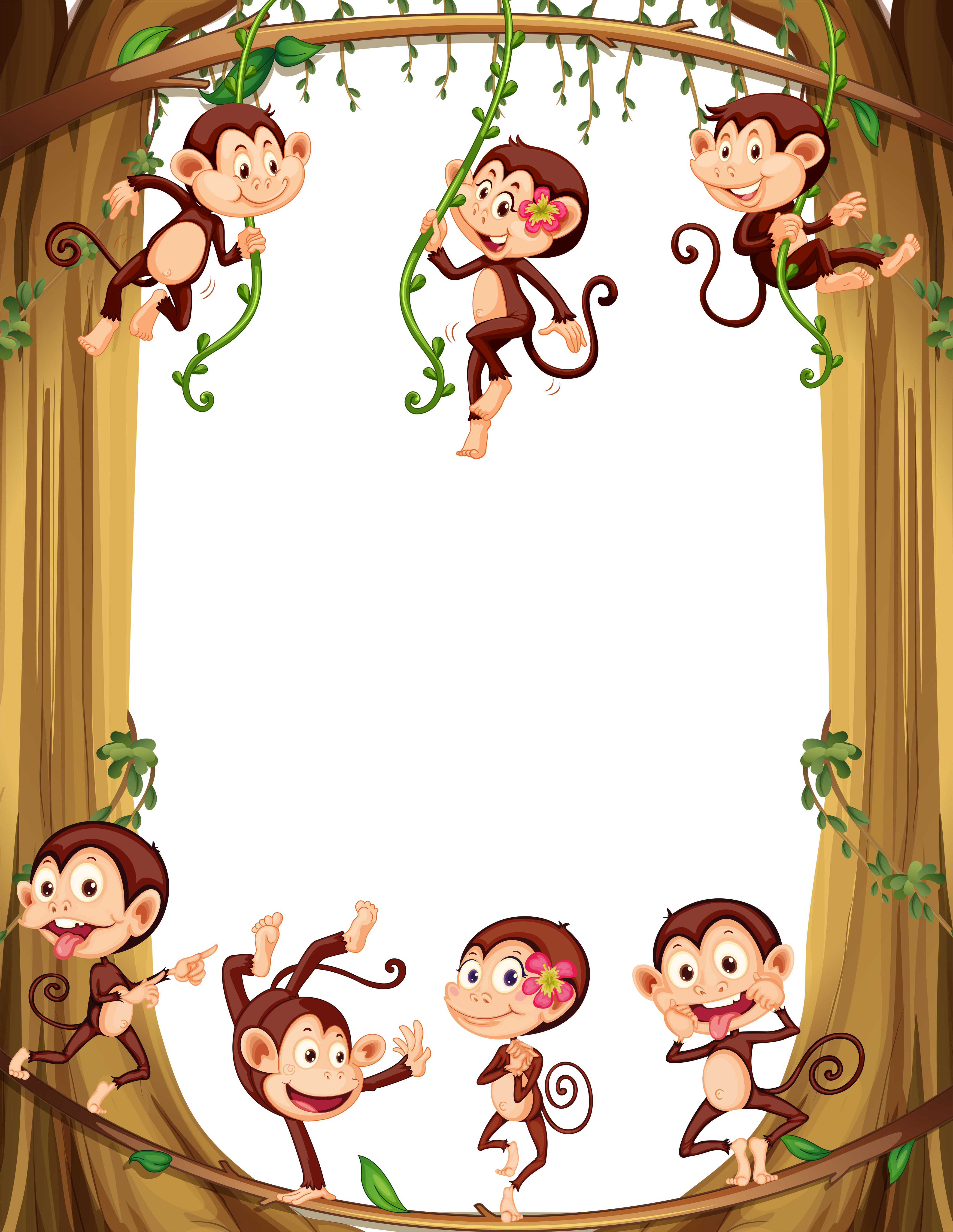 Border design with monkeys climbing the tree - Download ...