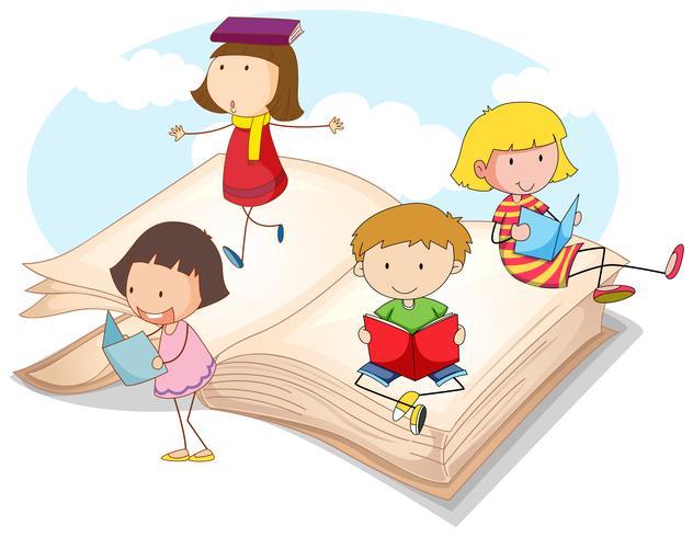 Många barn läser böcker vektor
