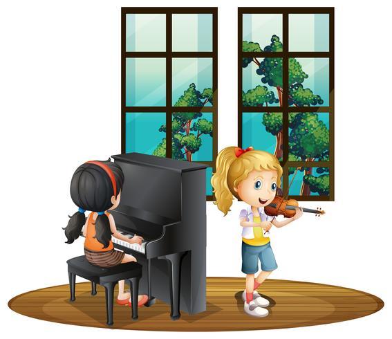 Twee meisjes speelmuziek in kamer