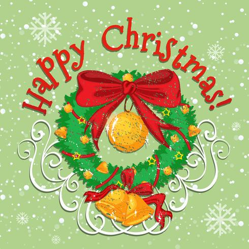 Happy Christmas poster with bell