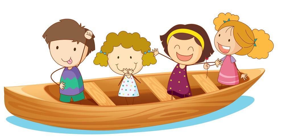 Happy kids rowing boat