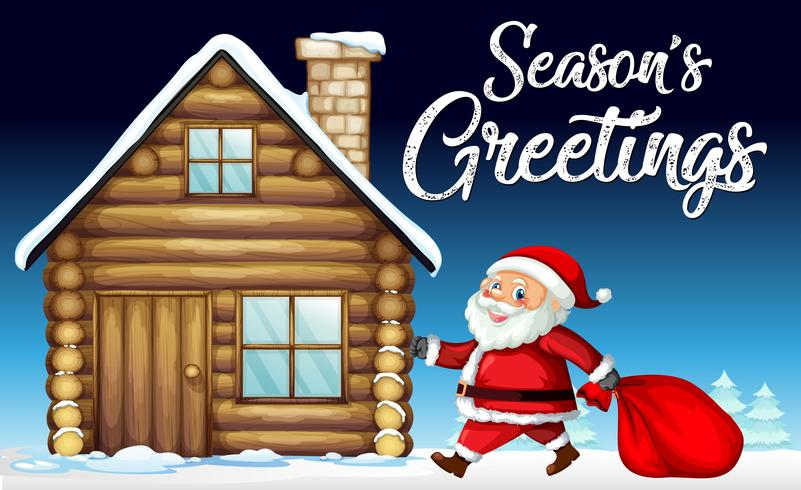 92a56ca444019 Santa on christmas card template - Download Free Vector Art