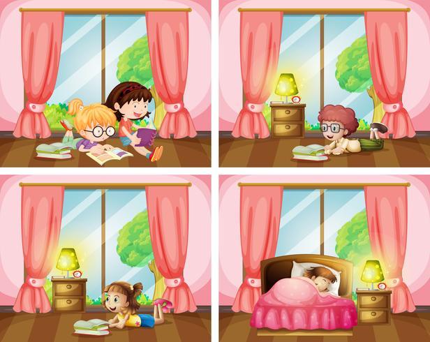 Niños leyendo libros y durmiendo en el dormitorio.