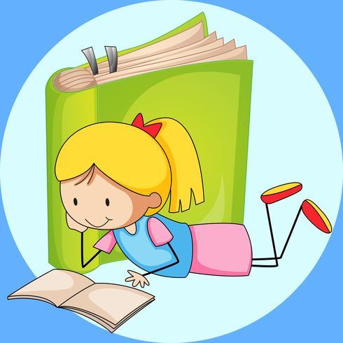 Libro de lectura de la muchacha con el Libro verde en fondo