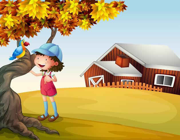 Ein Mädchen und ein Vogel im Hinterhof