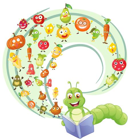 Worm reading book of fruits