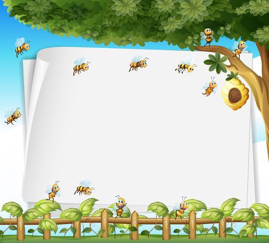 Diseño de papel con abejas y colmenas.