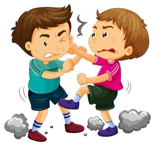 Deux jeunes garçons se battant
