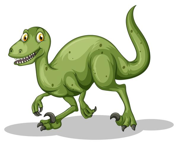 Dinosaurio verde con dientes afilados.