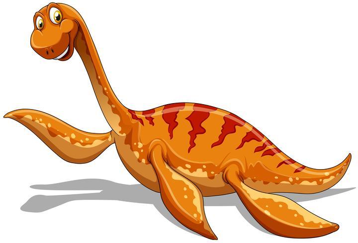 Braquiossauro laranja com pescoço comprido
