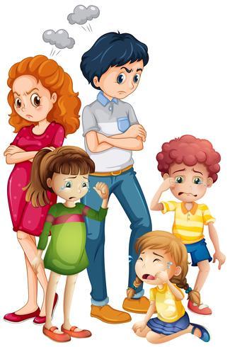 Membros da família em humor perturbado