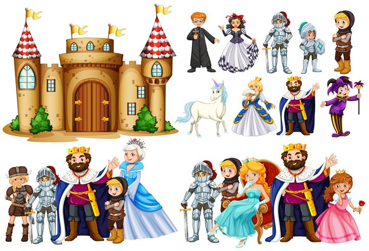 Fairytale characters and castle building vector