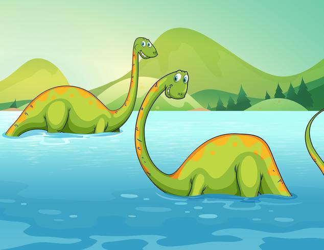 Dinosaurier står i floden