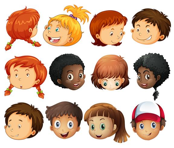 Diferentes rostros de niños y niñas.