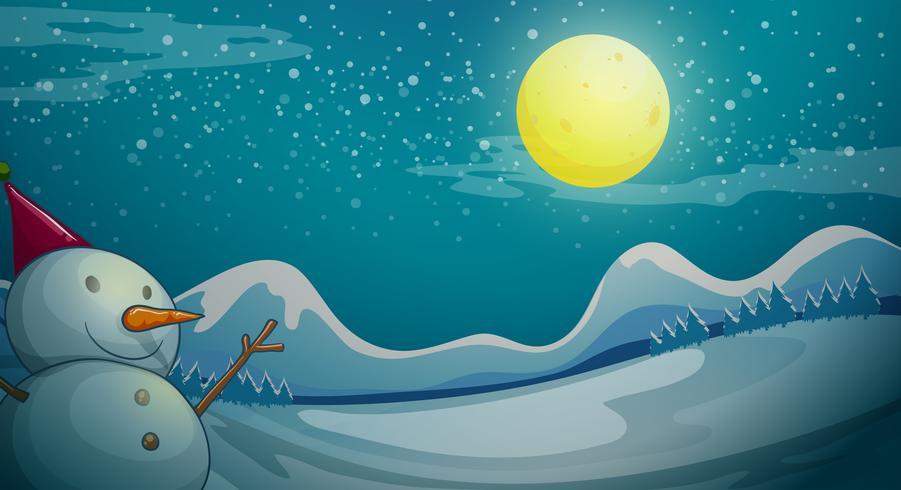 Een sneeuwman onder de heldere maan