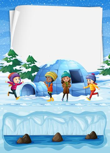 Crianças no Pólo Norte e Igloo