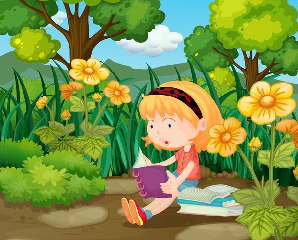 Little girl reading books in flower garden