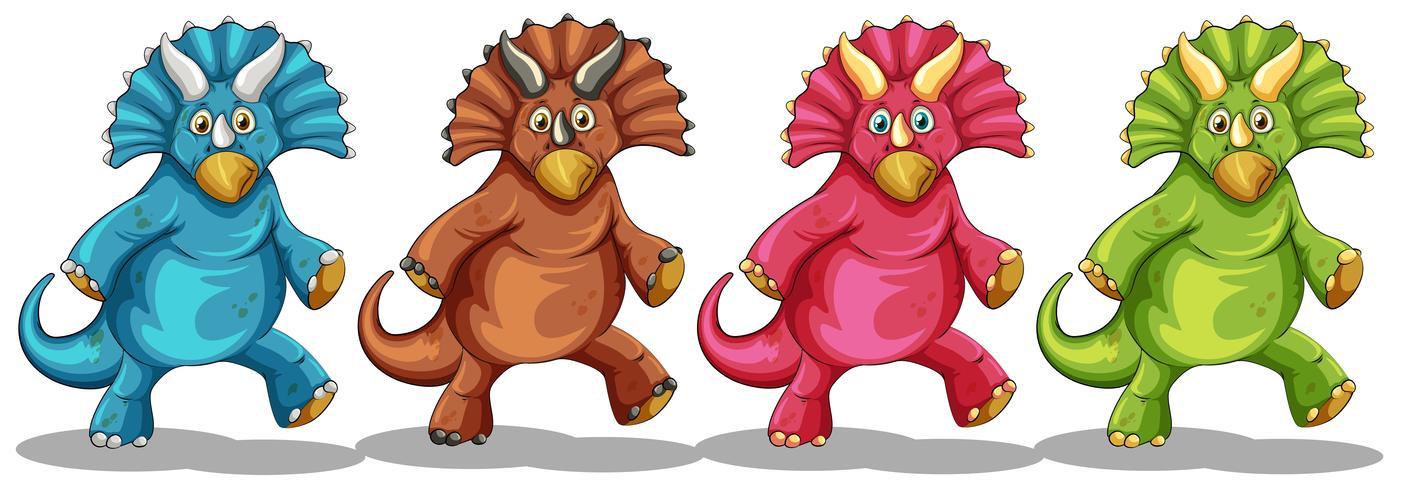 Dinosaurier i fyra olika färger