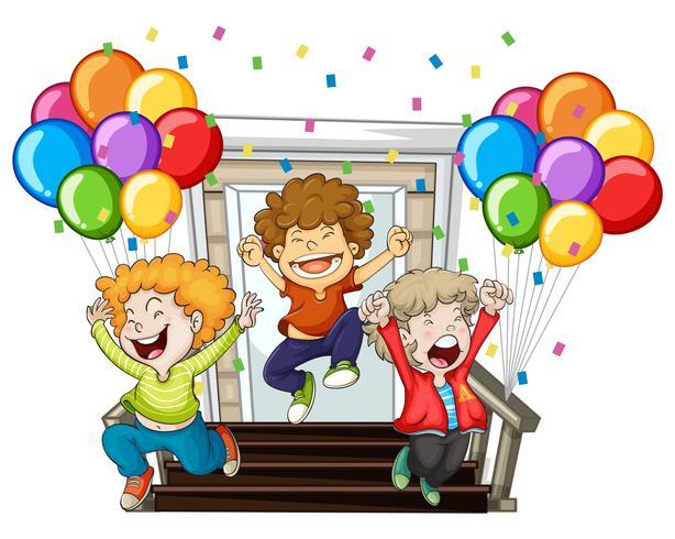 Glada pojkar och färgglada ballonger hemma