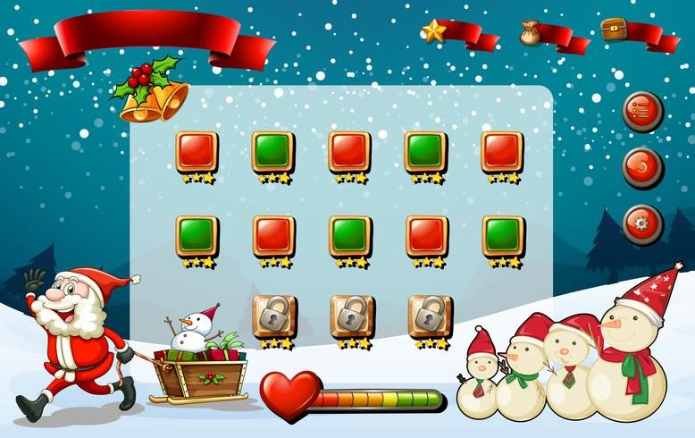 Game template with Santa and snowman vector