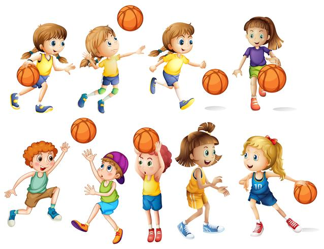 Girls and boys playing basketball