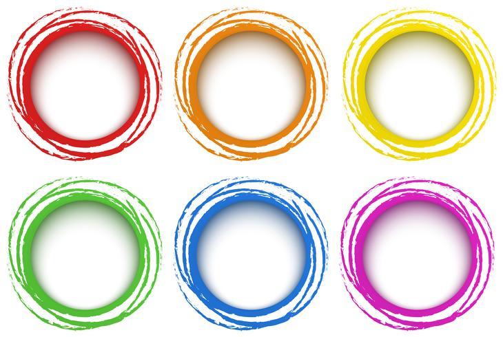 Modello a sei anelli in diversi colori vettore