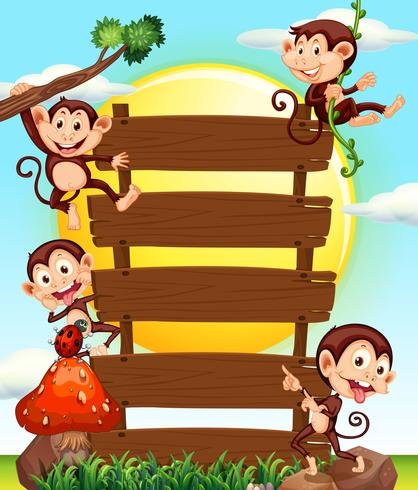 Wooden sign and four monkeys