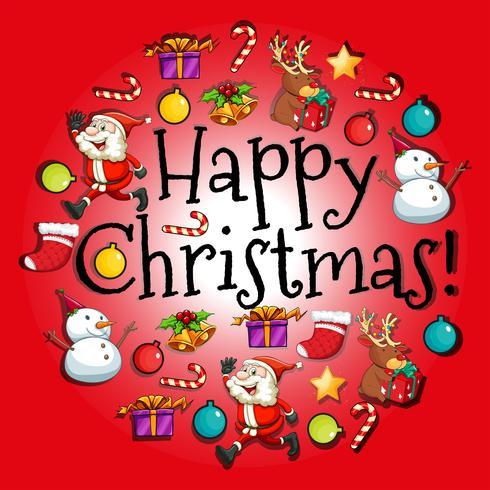 Kerstkaart met kerstman en ornamenten