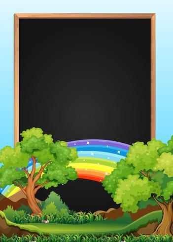 Modelo de placa com árvore e arco-íris